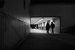 Walking together: Boulevard de Nantes subway, Cardiff (Dai Lygad) Tags: photos streetphotography pictures photographs freeblogphoto blogimage images stock people couple relationship twopeople cardiff subway city atnight winter blackandwhitebw canon80d eos camera silohuette afterwork walking jeremysegrott flickr freetouseforwebsiteforwebpage creativecommons pedestrians everydaylife caerdydd wales uk figures geotagged
