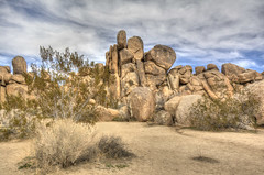 rock pile JT (maryannenelson) Tags: california winter joshuatreenationalpark nationalpark joshuatree tree rocks landscape desert clouds