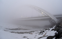 Neverending Span (Kurayba) Tags: edmonton alberta canada fog foggy morning march 23 2019 walterdale bridge new cloud cloudy clouds pentax k1 pea soup weather heavy wet grey ethereal suspension neverending span otherworld smcpentaxffisheye1728mmf3545 f 1728 fisheye f3545