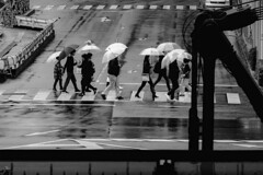 _1340832A Urban space (soyokazeojisan) Tags: japan osaka city street rain road umbrella people bw blackandwhite monochrome digital lumix tx1 2019