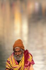0915 In Front Of The Holy Lake (Hrvoje Simich - gaZZda) Tags: outdoors people man old water reflections lake portrait beard indian india pushkar asia travel nikon nikond750 sigma150500563 gazzda hrvojesimich