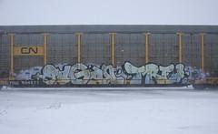 Pagan/Tre (quiet-silence) Tags: graffiti graff freight fr8 train railroad railcar art pagan tre nsf ync autorack cn canadiannational ttgx994577