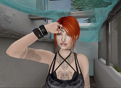 A nice Day out (ScarlettaJade44) Tags: redhead greeneyes freckles punk sl secondlife blacknails lolipop tattoo piercings