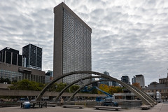 Nathan Phillips Square (Jocey K) Tags: sonydscrx100m6 triptocanada ontario canada autumn toronto city highrise clouds sky buildings architecture nathanphillipssquare trees autumncolours