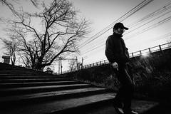 That's life (tomorca) Tags: man alone stairs light tree street monochrome blackandwhite fujifilm xt2