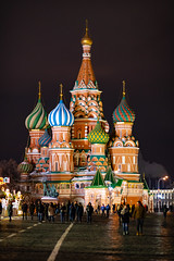 Saint Basil's Cathedral (gubanov77) Tags: colors night redsquare churches moscow architecture building russia cathedral people city street urban