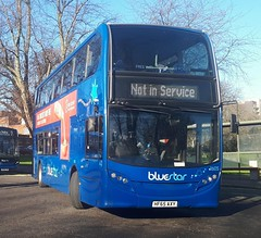 Bluestar 1605 is turning onto Vincent's Walk from Pound Tree Road while Not in Service. - HF65 AXY - 9th January 2019 (Aaron Rhys Knight) Tags: bluestar 1605 hf65axy 2019 vincentswalk poundtreeroad southampton hampshire gosouthcoast goahead alexanderdennis enviro400