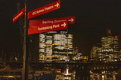 Sign post at Darling Harbour, Sydney, AU (Jim 03) Tags: darling harbour sydney australia sofitel nights sign post crinitis jim03 jimhoffman jhoffman jim wwwjimahoffmancom wwwflickrcomphotosjhoffman2013