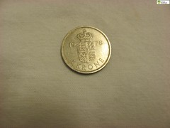 TM_IKD 142 - 1 krone, Danmark (Tidaholms Museum) Tags: mynt penning bankväsen coin banking 1970talet silver rund drottning queen danmark