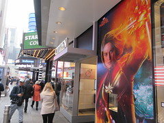 Captain Marvel Billboard Wall AD Times Square NYC 5841 (Brechtbug) Tags: captain marvel space avenger type billboard wall ad times square brie larson carol danvers vers intergalactic soldier shield comic book super hero movie poster theatre holiday ornaments film broadway 43rd street 7th avenue new york city 04122019 nyc advertisement pop popular art mural american star police blue sky march 2019 comics comicbook books comicbooks crime fighter
